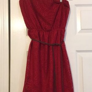 NWOT Maurices Red Strapless Dress and Belt, Medium